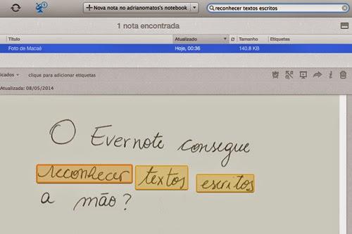 Captura de tela do programa Evernote, fazendo a busca pelas informações escritas a mão e fotografadas pelo smartphone.