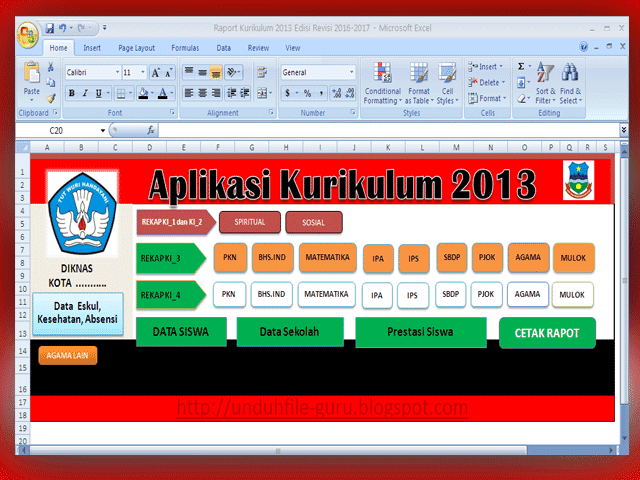 Download Aplikasi Raport Kurikulum 2013 Kelas 4 SD Revisi 2016-2017