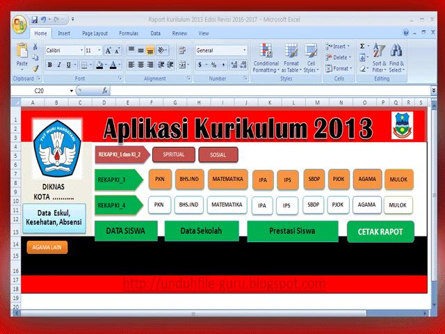 Aplikasi Raport Kurikulum 2013 Revisi 2016/2017