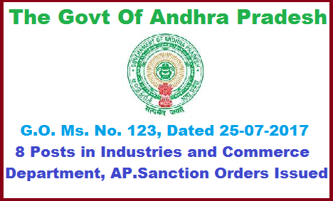 G.O. Ms. No. 123, 8 Posts in Industries and Commerce Department, AP. Sanction Orders Issued. The Industries & Commerce Department – Up-gradation of (3) posts of Assistant Directors, Mines & Geology as Deputy Directors Mines & Geology and creation of (05) post of Deputy Directors, Mines & Geology duly suppressing (05) posts of Assistant Geologists in Mines and Geology Department– Sanction – Orders – Issued. go-ms-no-123-8-posts-in-industries-and-commerce-department-ap-sanction-orders-issued