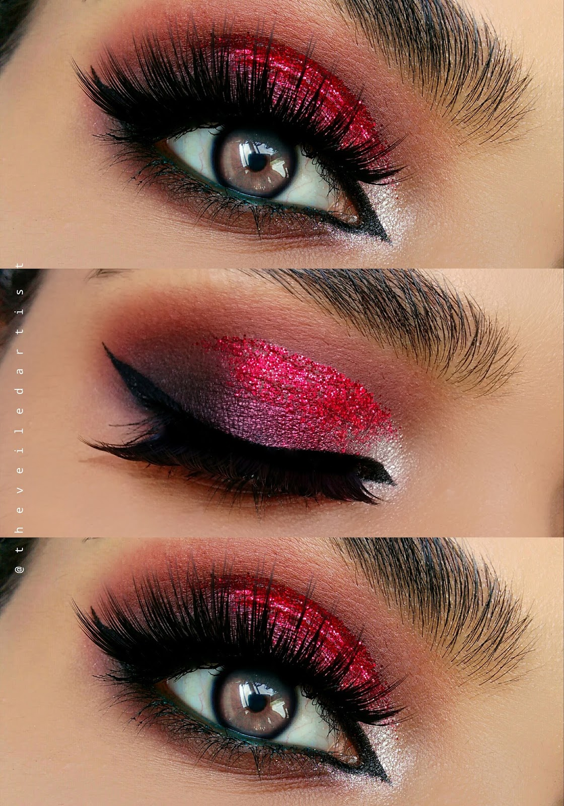 Dramatic Pink And Red Glitter Smokey Eyes With A Pop Tutorial The
