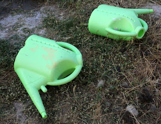 Two tired watering cans