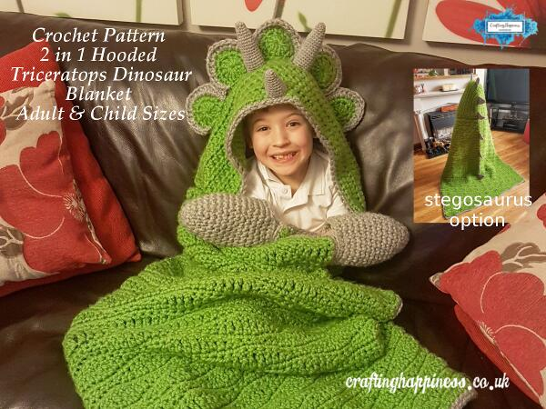 Crochet Pattern 2 In 1 Hooded Dinosaur Blanket Triceratops Or