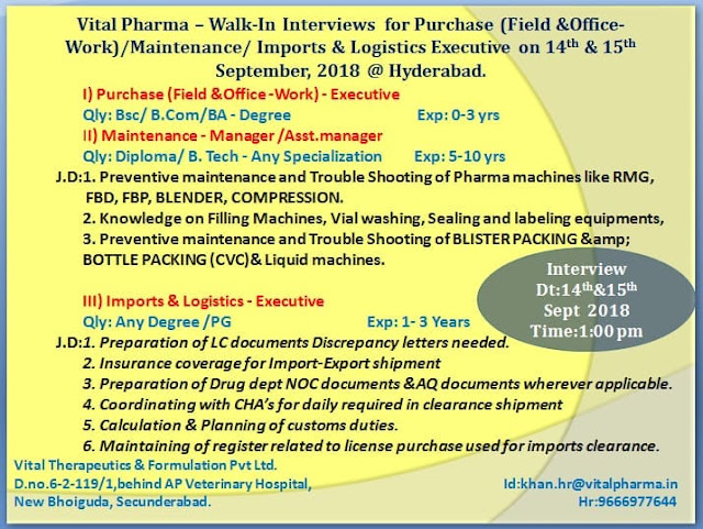 Vital Pharma  Walk In For B.Sc, B.Com, B.A, Diploma, B.Tech at 14 & 15 Sep