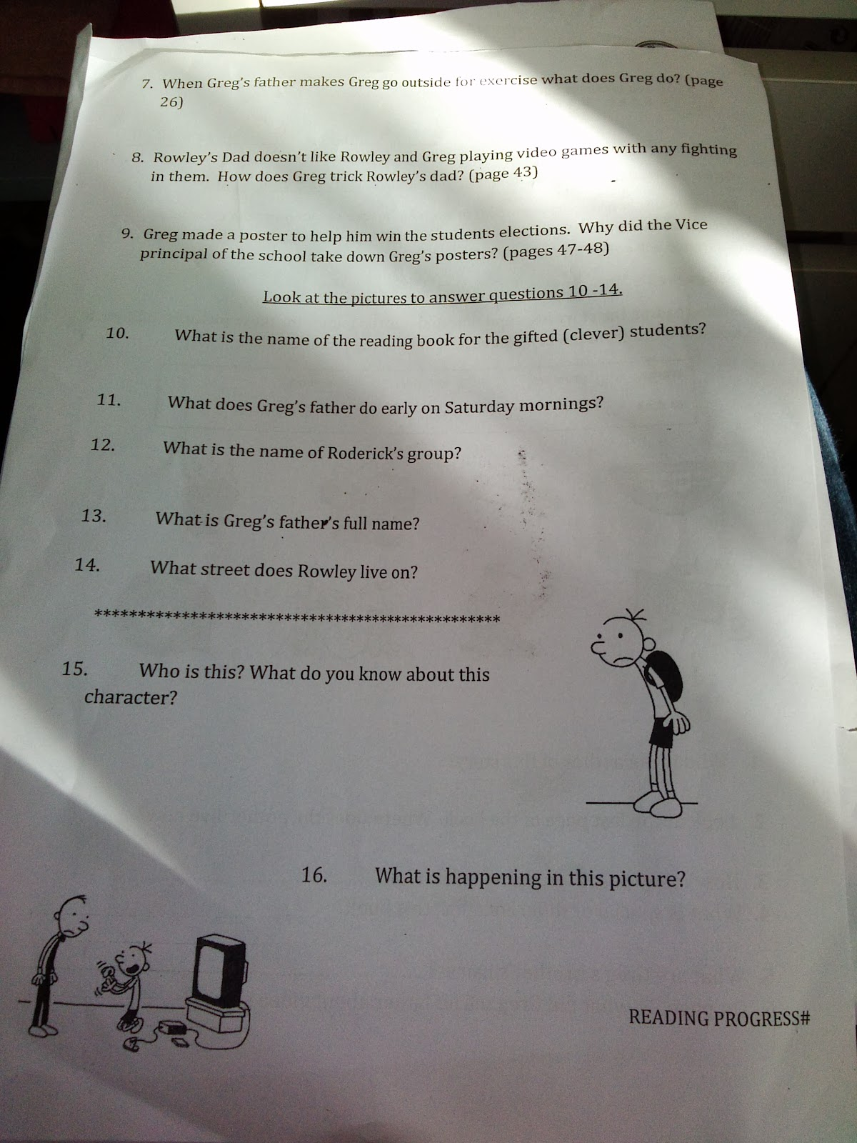 Diary Of A Wimpy Kid Worksheet 1