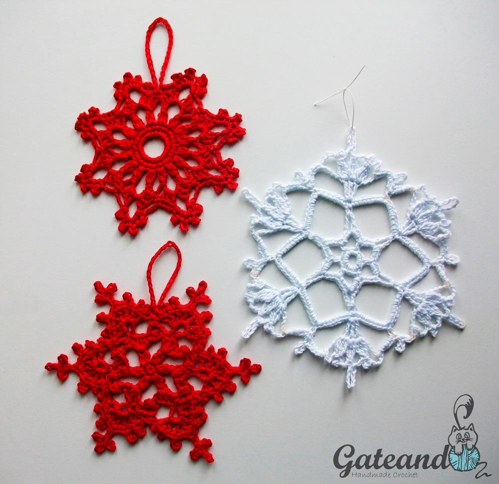 Adornos navide os copos de nieve snowflakes - Adornos navidenos crochet ...