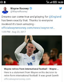 England's Player, Wayne Rooney Retires From International Football