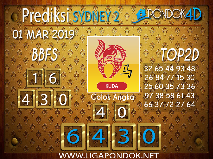 Prediksi Togel SYDNEY2 PONDOK4D 01 MARET 2019