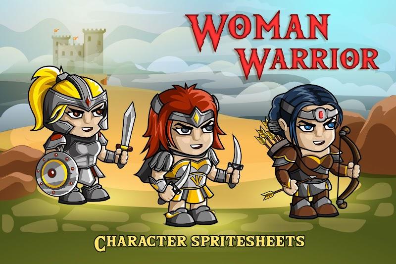 2D Oyun Yapabilmek için Kadın Savaşçı Karakter Sprites