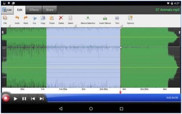 Aplikasi Edit Lagu Android WavePad Audio Editor Free