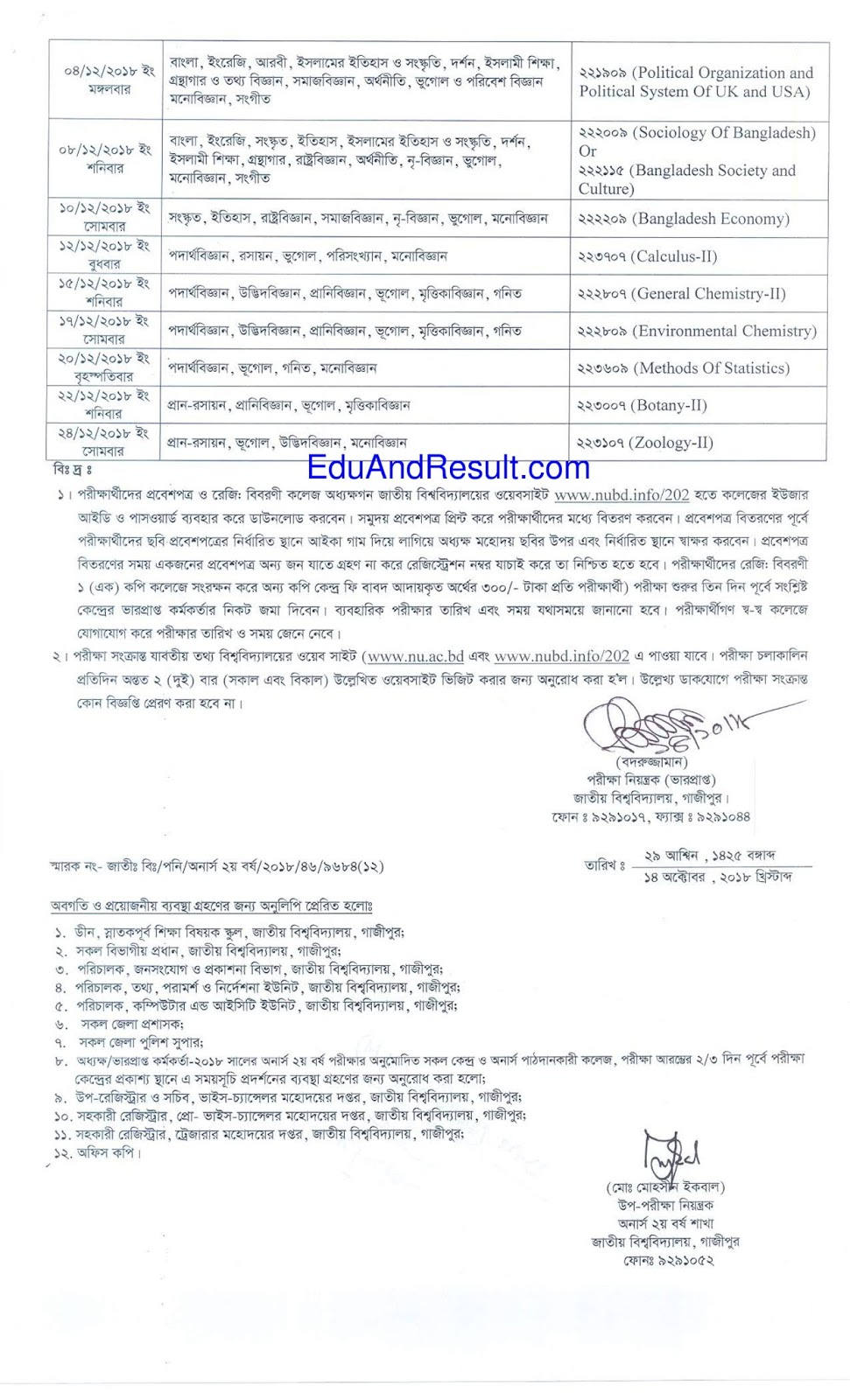 Honours 2nd Year Routine 2018