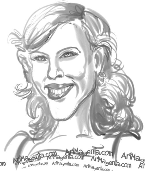 Scarlett Johansson caricature cartoon. Portrait drawing by caricaturist Artmagenta