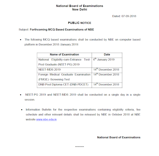 NEET PG 2019 will be on 6th Jan 2019