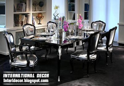 luxury Italian dining room furniture ideas, black and silver dining room furniture