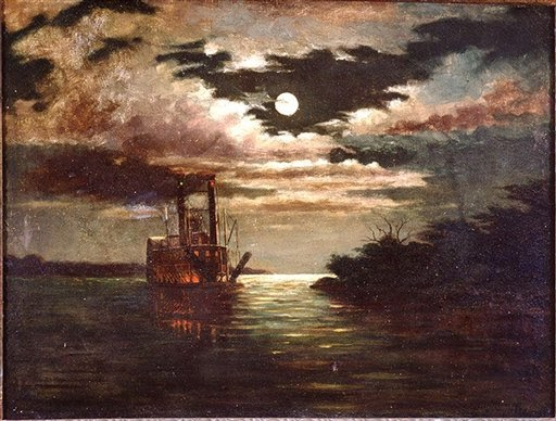 August Norieri - Natchez VII en el rio Mississippi a la luz de la luna - c. 1890