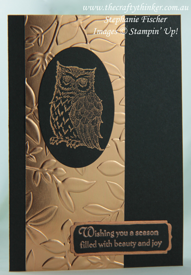 #thecraftythinker  #cardmaking #rubberstamping  #christmascard  #xmascard  #shimmerpaint  #stampinup  , Still Night, Copper & black, Christmas Card, Xmas card, Shimmer Paint, Stampin' Up Australia Demonstrator, Stephanie Fischer, Sydney NSW