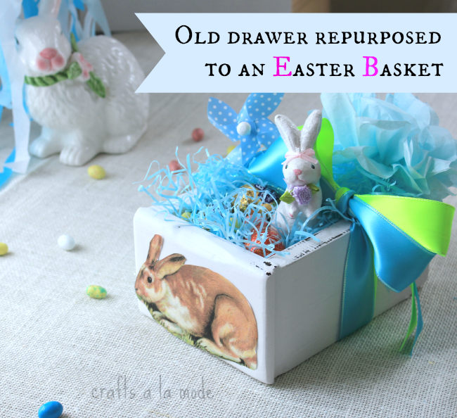 Old bureau drawer turned into an Easter treat box.