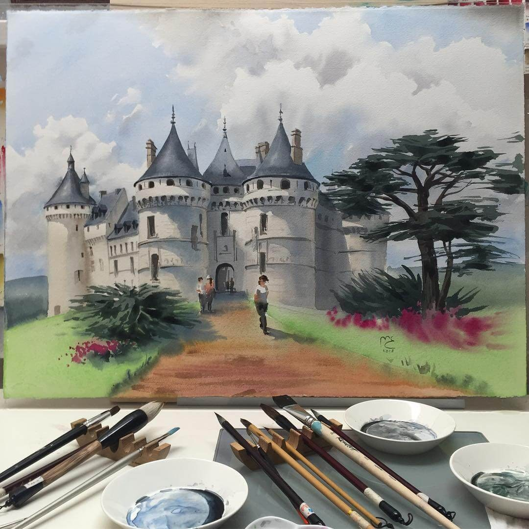 13-Château-Chaumont-sur-Loire-France-Eleanor-Mill-European-Architecture-in-Watercolor-Paintings-www-designstack-co