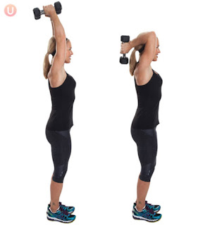 Women's Tricep overhead exercise