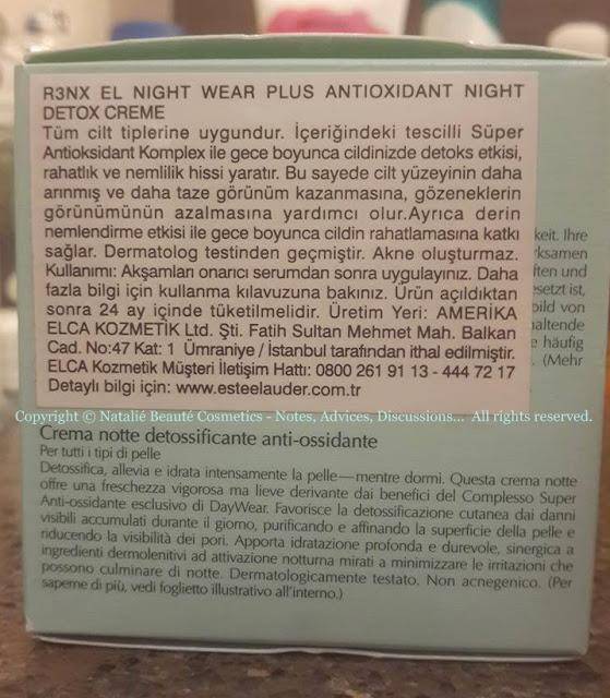 NightWear Plus Anti-Oxidant Night Detox Creme - ESTEE LAUDER, PERSONAL PRODUCT REVIEW AND PHOTOS - NATALIE BEAUTE