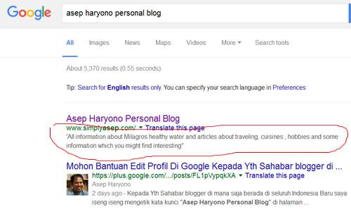 PROPAGASI : Sekitar 1 x 24 jam hasil perubahannya (dalam lingkaran warna merah) sudah bisa terlihat di halaman pencarian Google.   Gambar dari Internet