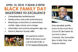 "Flyer that reads: ""April 14, 2018, 9:30 a.m. - 2:30 p.m. Black Family Day, Milestones to Excellence. Complementary buffet brunch; Family prizes and youth performances; Workshops on transition to elementary, middle, high school, and college; Internships and summer programs sign-ups; Tablet & Warriors tickets raffle. For questions and to RSVP to this free event, call 415-603-7628 or email aapac@sfusd.edu. Free round trip shuttle buses to the event from Carver Elementary School, Bret Harte Elementary School, AA Art & Culture Complex, the Sunnydale Boys & Girls Club, and Treasure Island."""