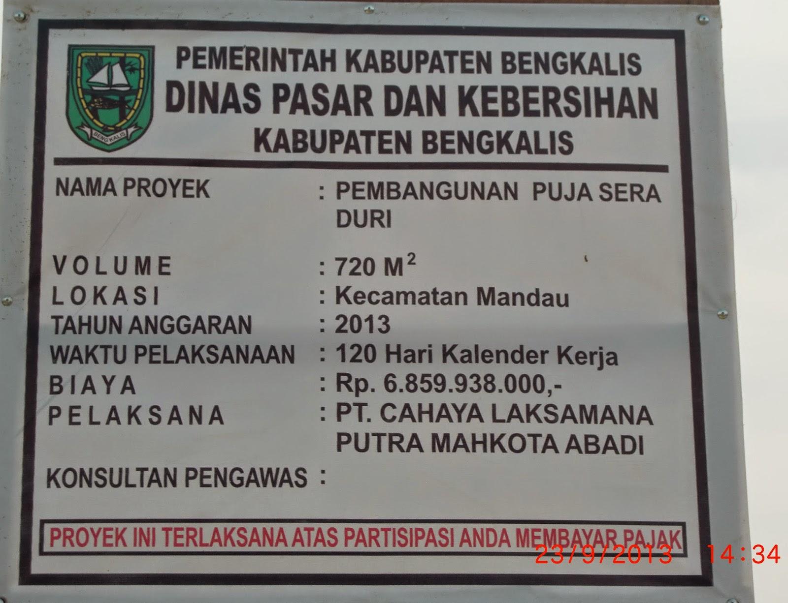Menara Riau: BIAYA PEMBANGUNAN PUJASERA DI DURI TELAN