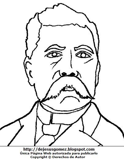 Dibujo Porfirio Díaz para colorear pintar imprimir. Dibujo de Porfirio Díaz hecho por Jesus Gómez