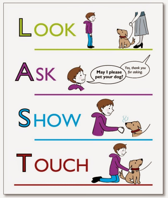 illustrated poster with pictures of boy looking at a dog with his leash being held by a woman, boy has speech bubble asking to please pet the dog, boy shows his hand to the dog and allows it to be sniffed, boy pets the dog on the back