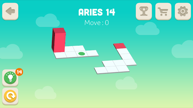 Bloxorz Aries Level 14 step by step 3 stars Walkthrough, Cheats, Solution for android, iphone, ipad and ipod