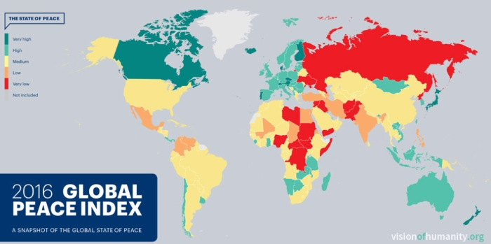 Mapa com o Índice Global da Paz de 2016