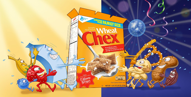 Céréale, Chex, déjeuner, party, Agence, Cossette, breakfast, cereal, morning, evening, cartoon, illustration