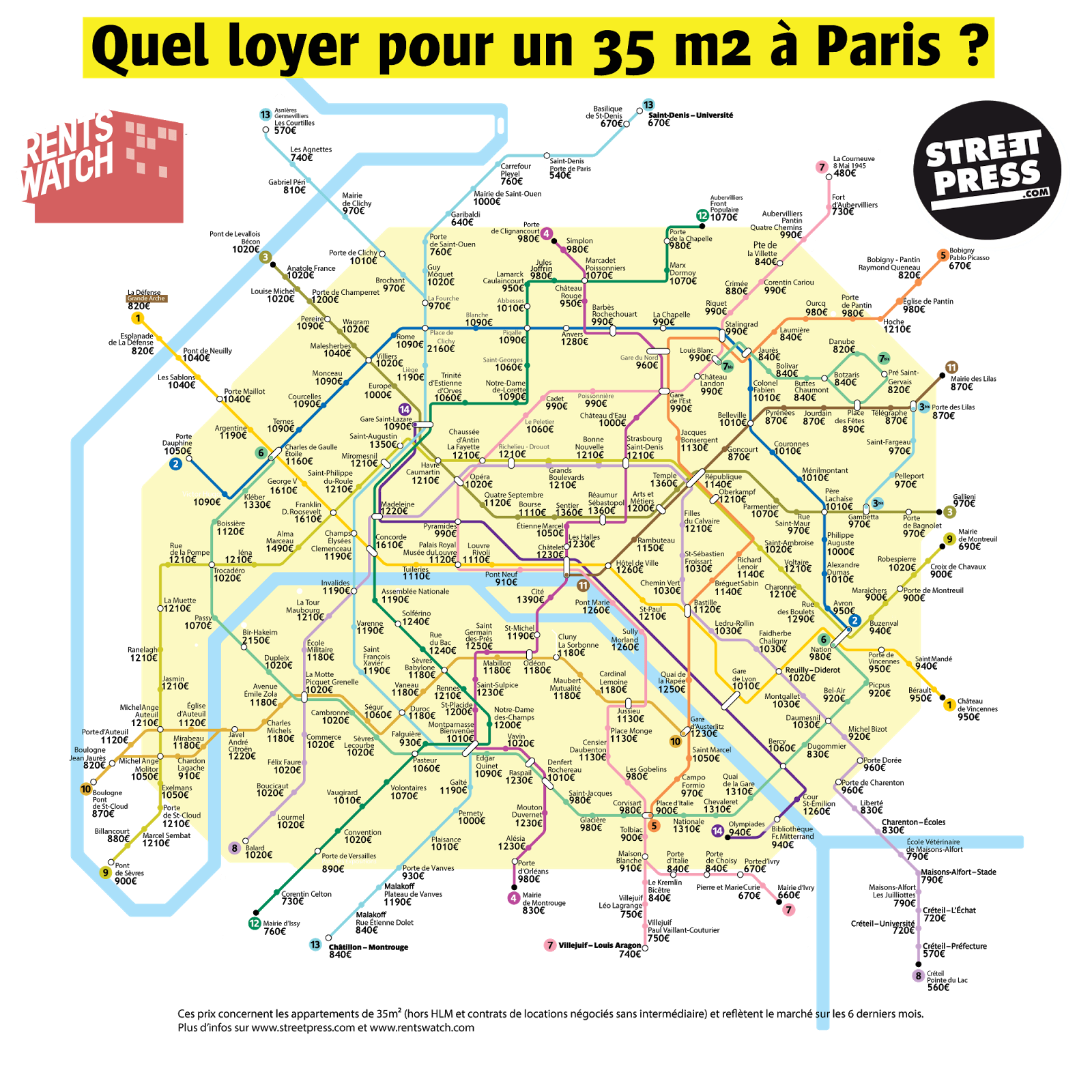 Paris metro rent map