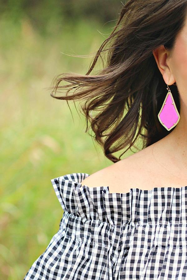 Collyn Raye Etsy Shop Derby Dress, Black and white gingham dress, kendra scott alex magenta earrings