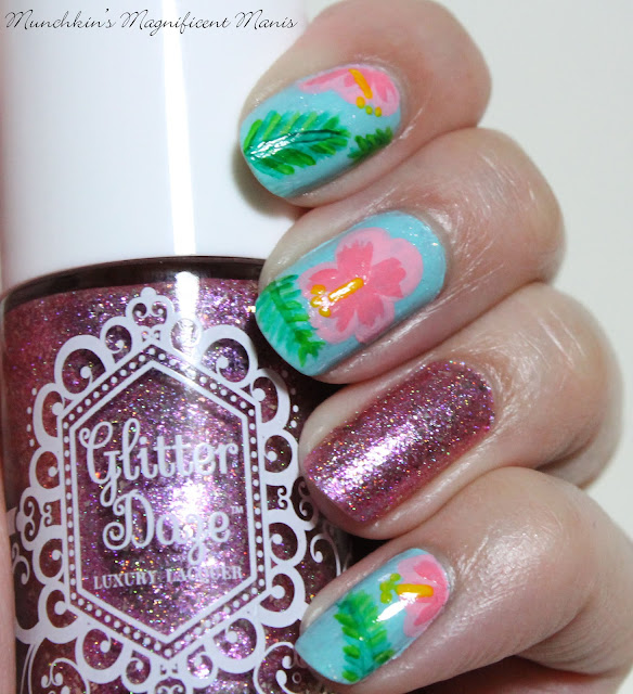 Hibiscus Flower Nail Design with Glitter Daze Let's have a Waikiki