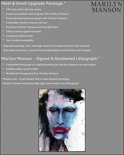 Marilyn manson blog fan site marilyn manson paquete vip meet future beat ha anunciado su paquete especial del vip meet greet en donde se podr conocer a marilyn manson antes del show y tambin poder saludarlo m4hsunfo