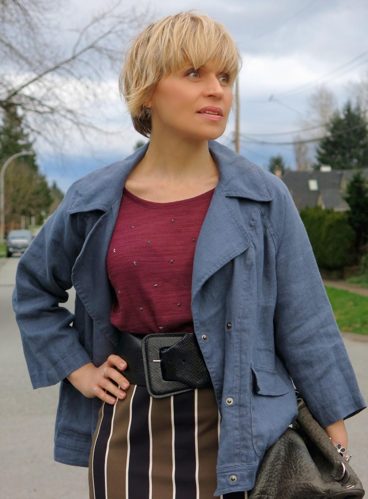 slate blue linen swing coat