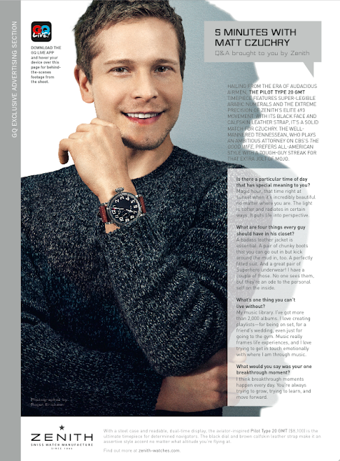 Actor Matt Czuchry/Zenith Watches for GQ