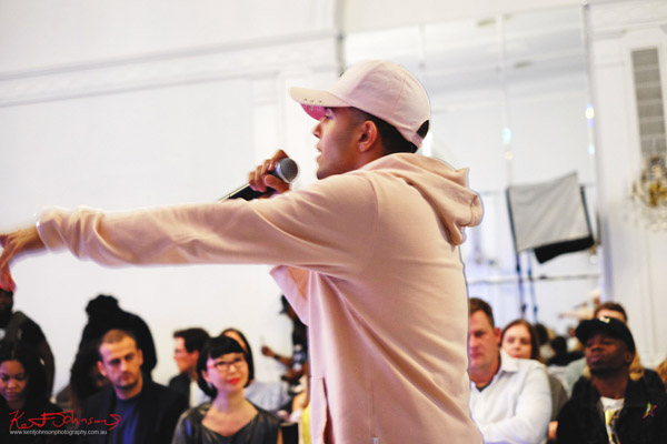 Singer/Rapper Xavier performs at Bracé NYFW. Photographed by Kent Johnson