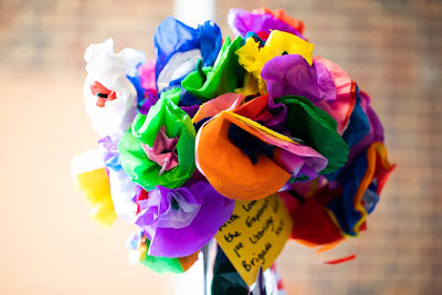 Tissue paper flowers made by the Girls' Brigade