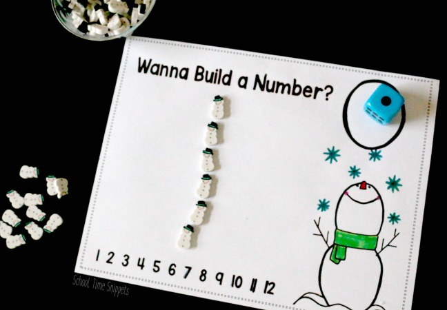 Snowman Mini Eraser Math Printable