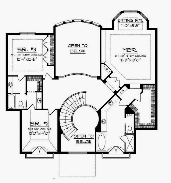 House Plan with Circular Staircase