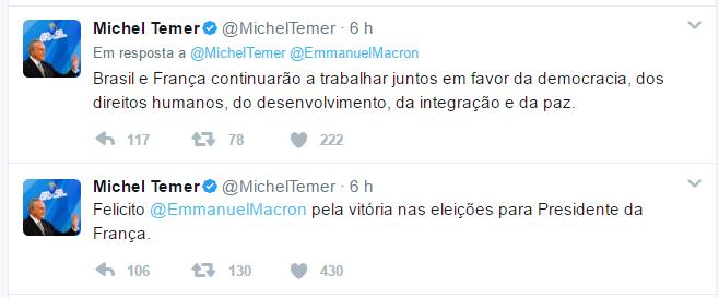 Visite o perfil do Presidente Michel Temer no Twitter
