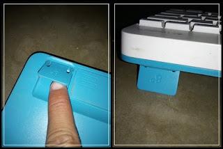 Gambar posisi penyangga tambahan dari keyboard Logitech MK240