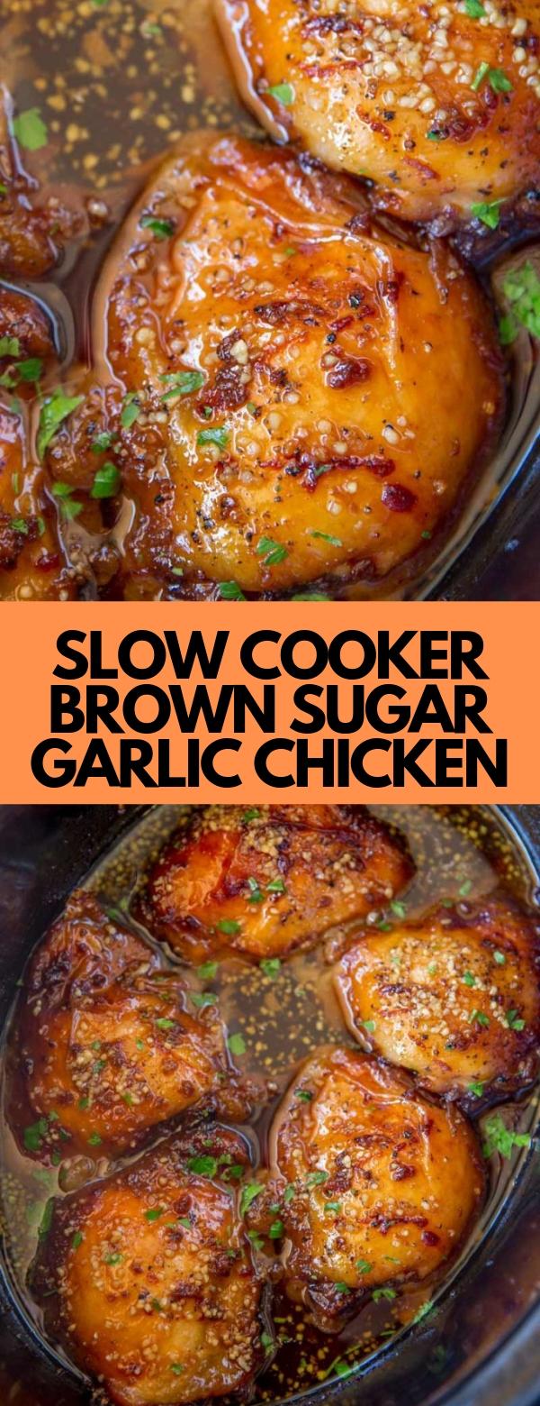 SLOW COOKER BROWN SUGAR GARLIC CHICKEN #slowcooker #chicken