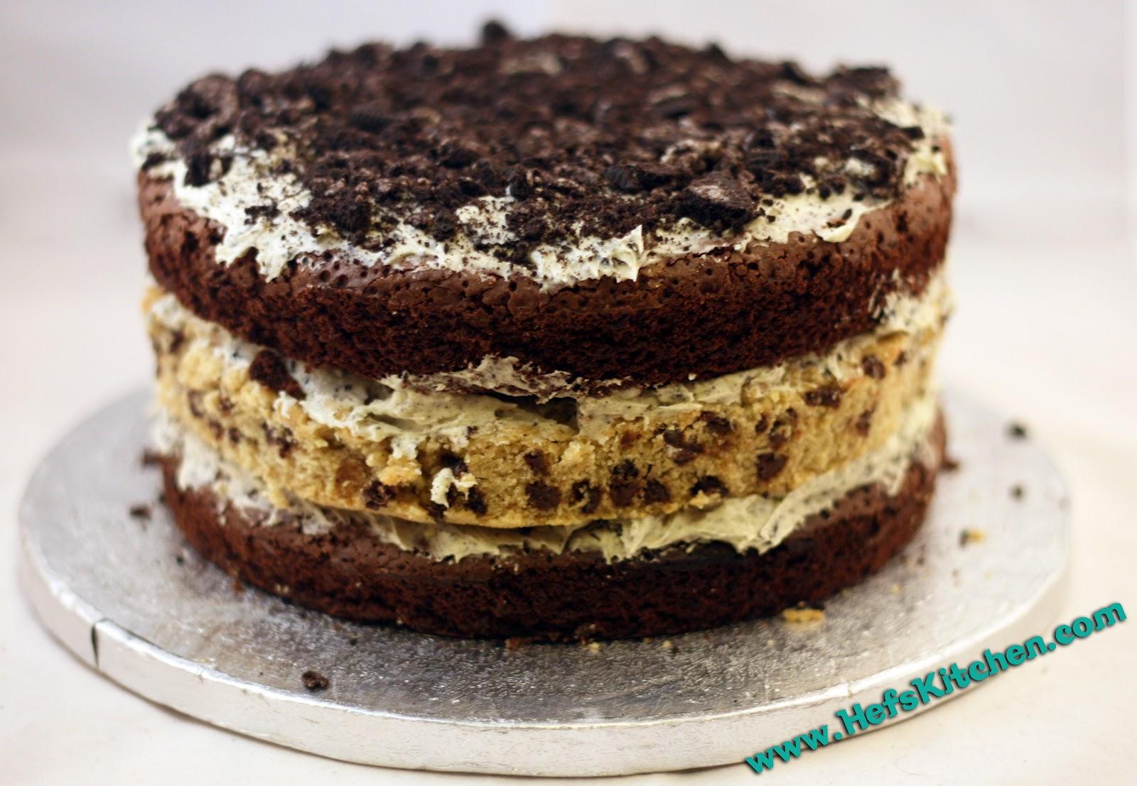 Chocolate Chip Cookie Oreo Brownie Cake