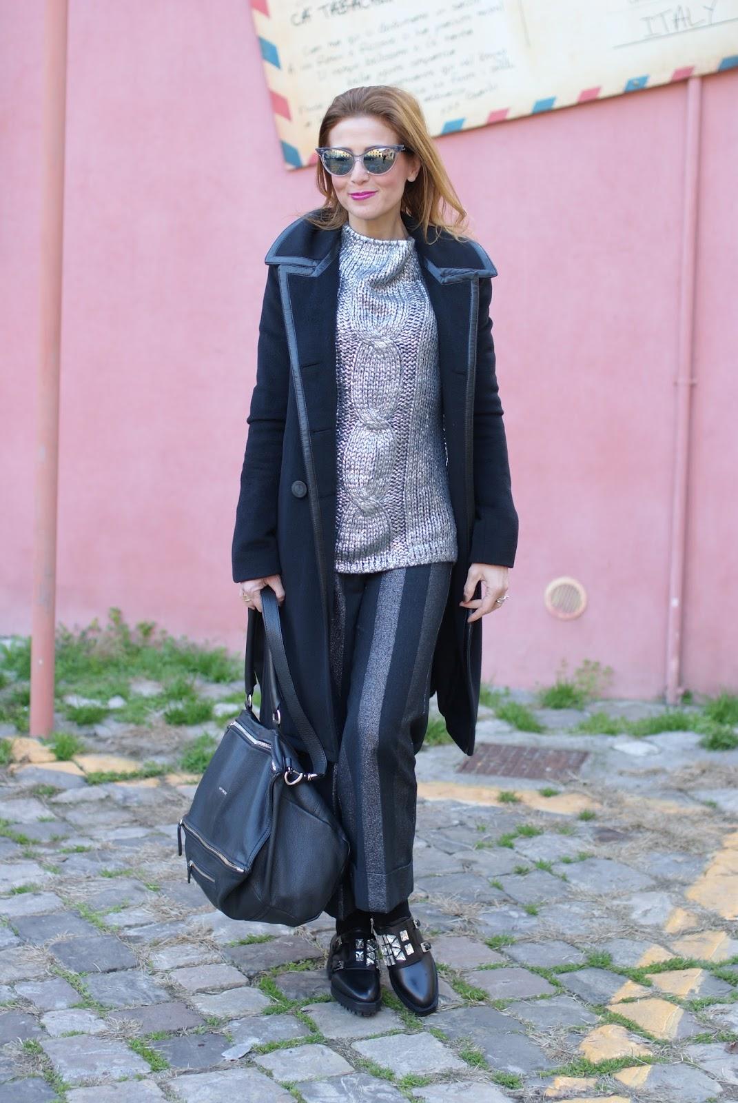 Balenciaga black coat with leather trim on Fashion and Cookies fashion blog, fashion blogger style