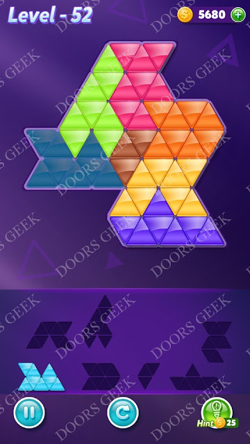 Block! Triangle Puzzle Advanced Level 52 Solution, Cheats, Walkthrough for Android, iPhone, iPad and iPod