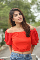 Rhea Chakraborty in Red Crop Top and Denim Shorts Spicy Pics ~  Exclusive 302.JPG