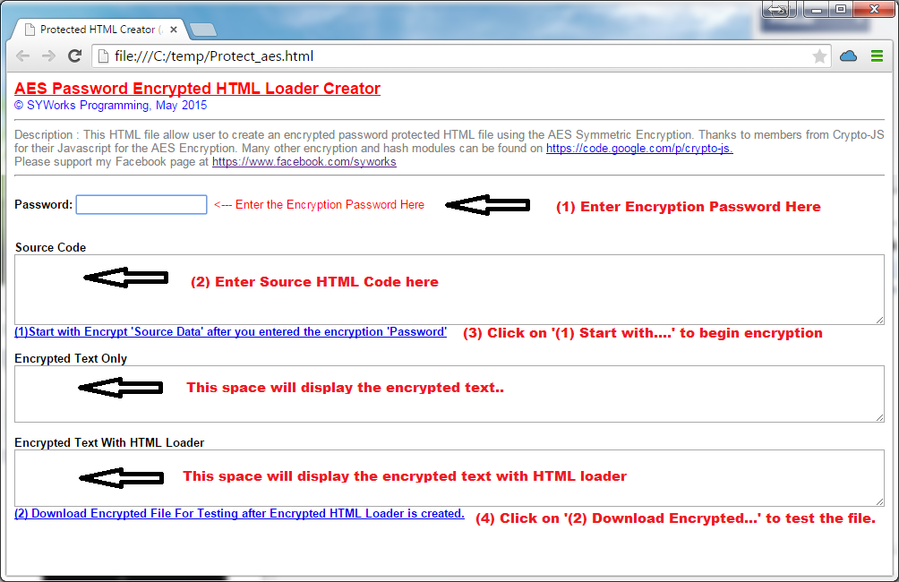 SYWorks Programming: AES Protected HTML Page Creator